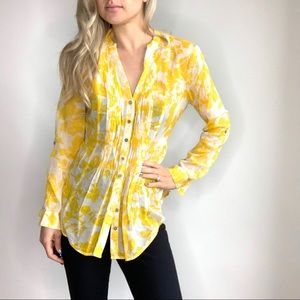 Anthropologie Maeve Yellow & White Button Up Top 8